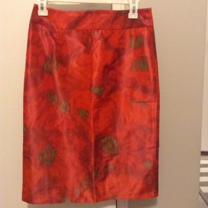 J Crew silk skirt red pink watercolor pencil s 2